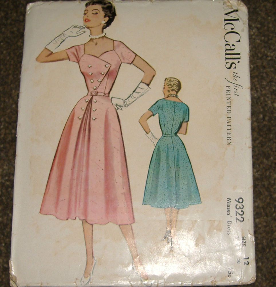 McCall's 9322 Dress 1953 Sz12/30 The dress features a semi-full skirt with a front gathered pleat & belt & a sweetheart neckline. complete sld 6.5+2.64 3bds 5/27/16