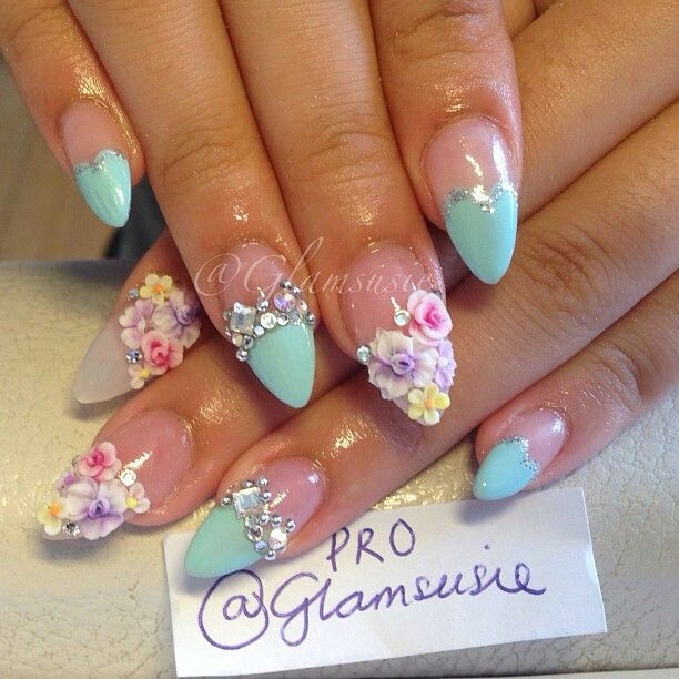 Nails By: Susie french , 3D, fiore, fiori, flower, Цветы, Цветочек, цвиток , tifany, azzurro, rosa, pink