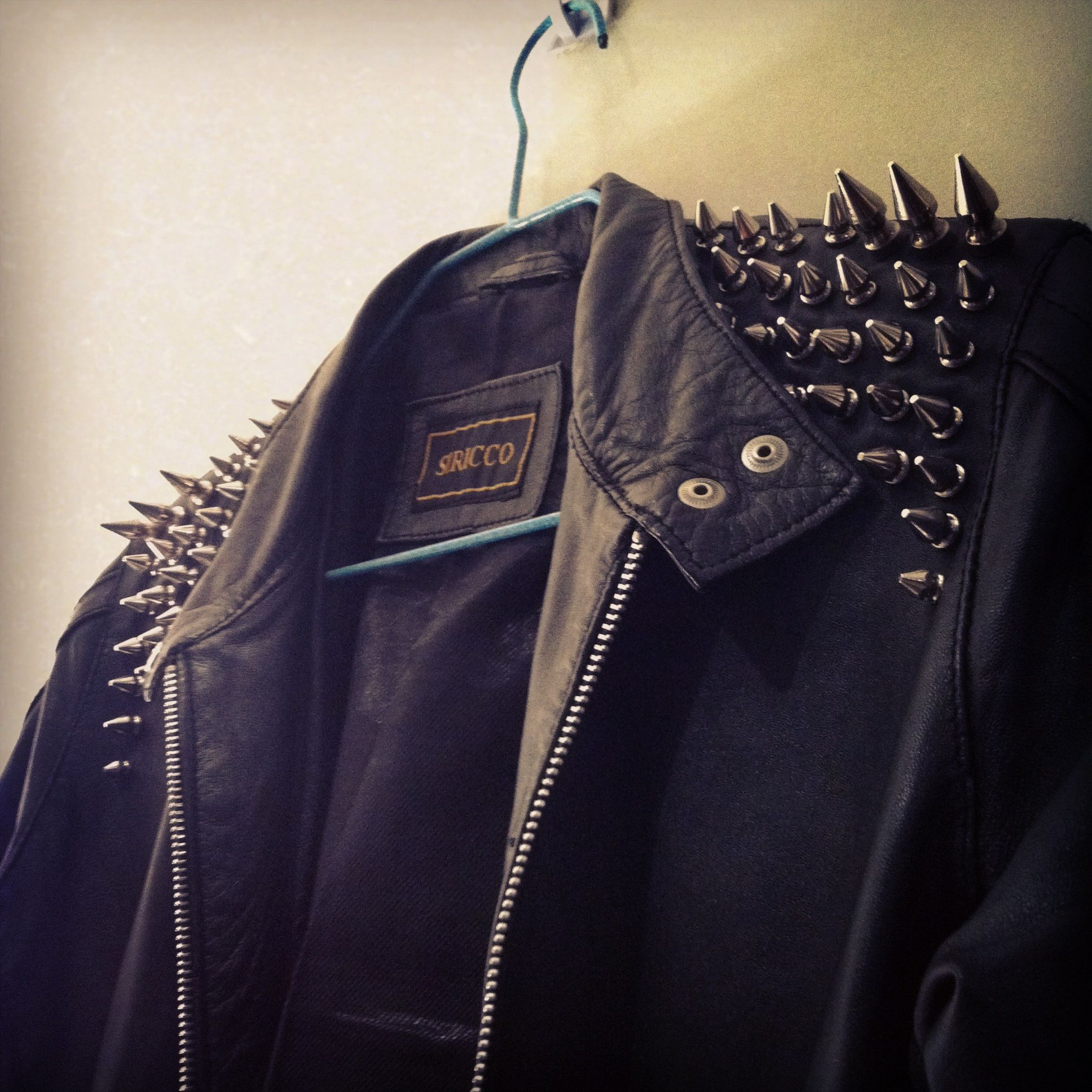 diy spiked shoulder leather jacket detail #leather #spikes #studs