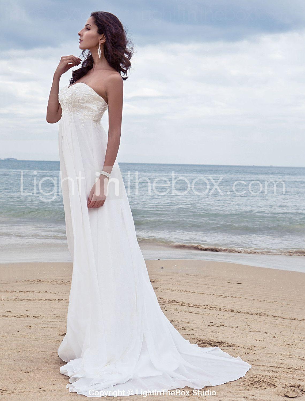 A-Line Sweetheart Court Train Chiffon Wedding Dress with Beading ...
