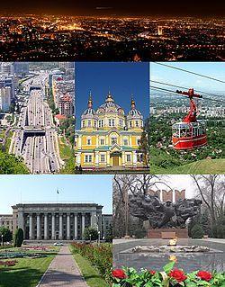 No sentido horário da parte superior: Opinião panorâmico da noite da cidade de Kok Tobe-;  Teleferic de Kok Tobe-;  Catedral da Ascensão;  Almaty rodovia central;  Panfilov Guardsmen WW2 Memorial;  O antigo Palácio Presidencial.