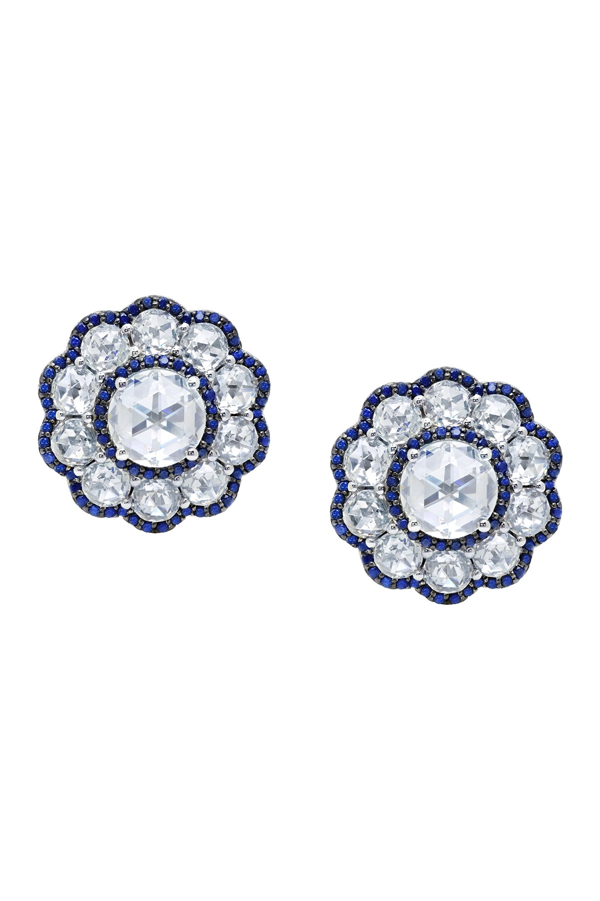 a12ddb589 LaFonn - Platinum Plated Sterling Silver Simulated Diamond & Lab-Grown  Sapphire Heritage Flower Stud Earrings is now 74% off. Free Shipping on  orders over ...