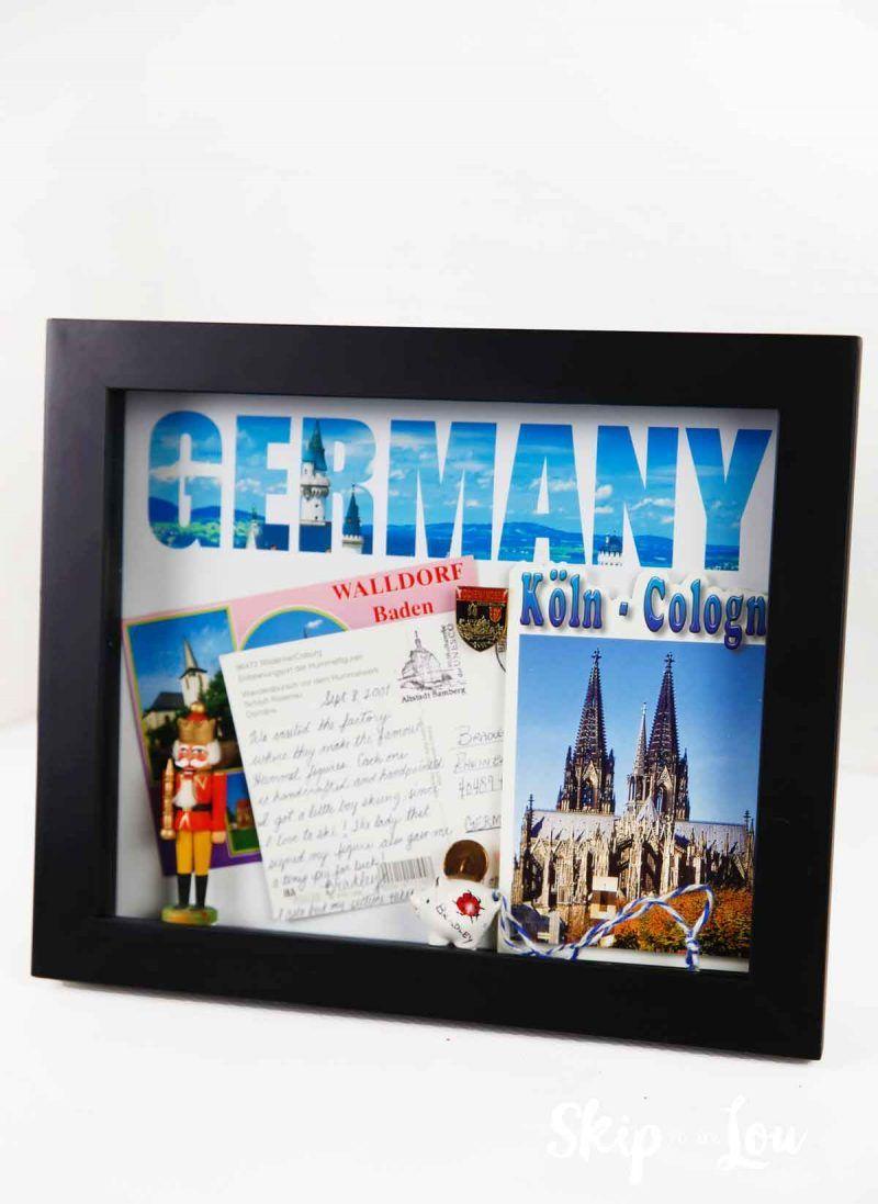 Shadow Box With German Memorabilia Travel Keepsakes Shadow Box