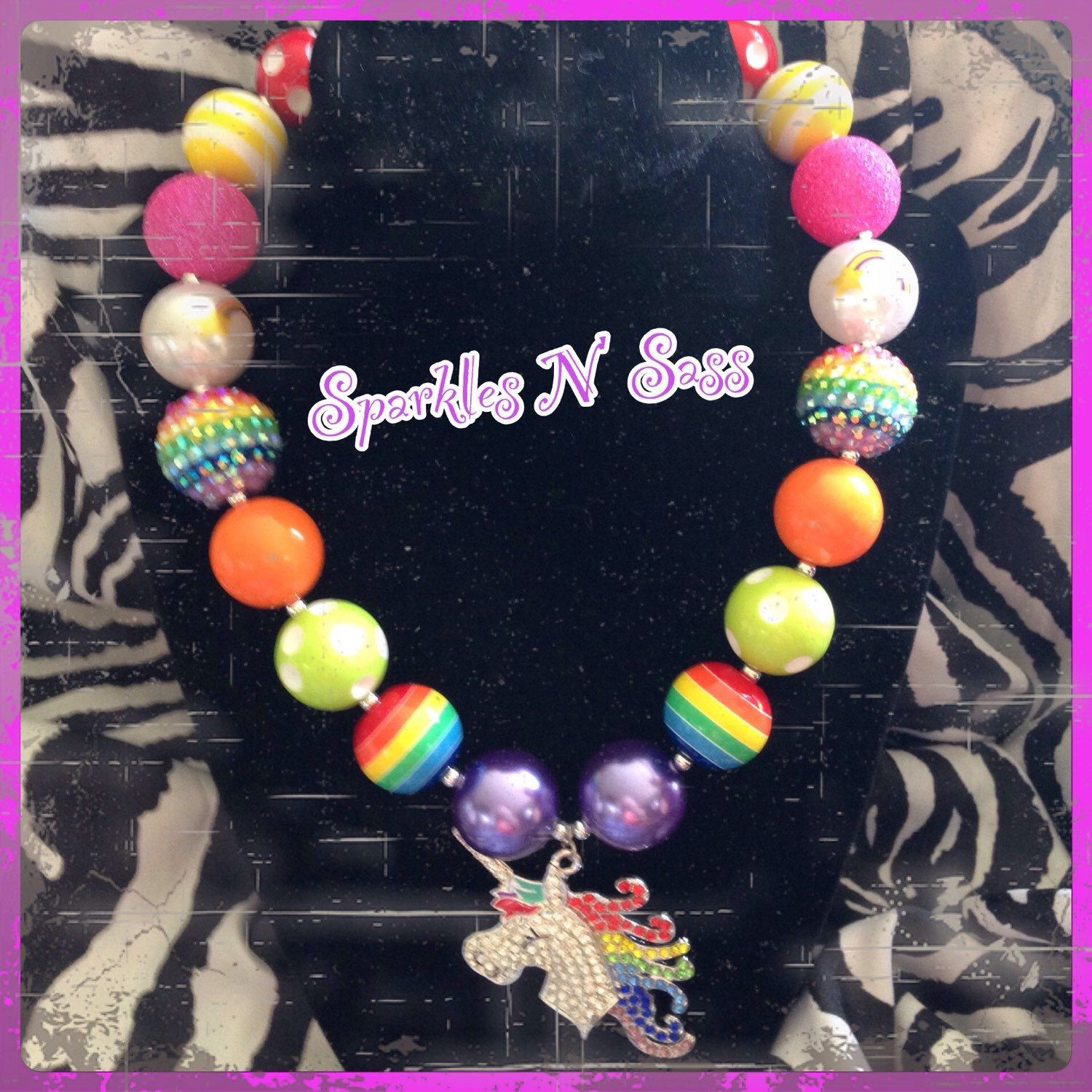 A personal favorite from my Etsy shop https://www.etsy.com/listing/236030007/unicorn-rainbow-necklace