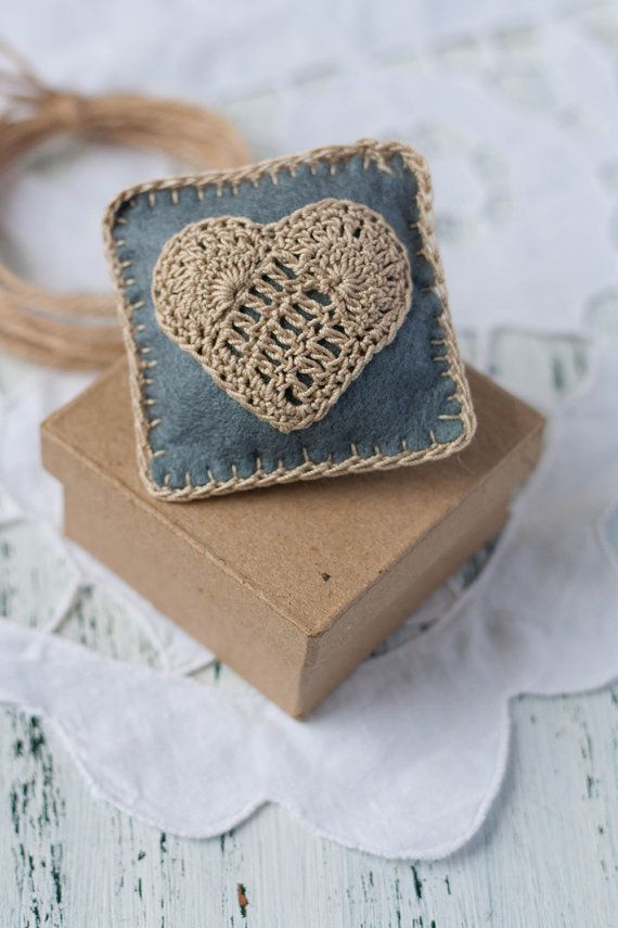 "Felt brooch ""Cushion"" with a crocheted motif in a shape of a heart. via Etsy."