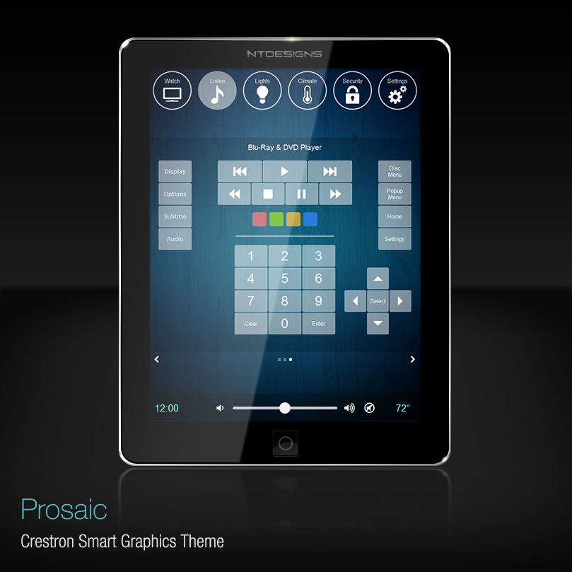 UI Design for Crestron home automation system.