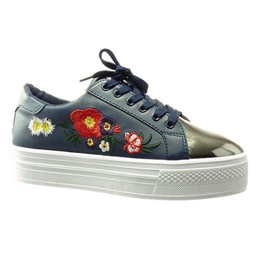 low priced 4b674 1f98c Angkorly - damen Schuhe Sneaker - bi-Material ...