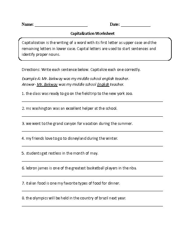 capitalization worksheet writing part 1 intermediate board grammar. Black Bedroom Furniture Sets. Home Design Ideas