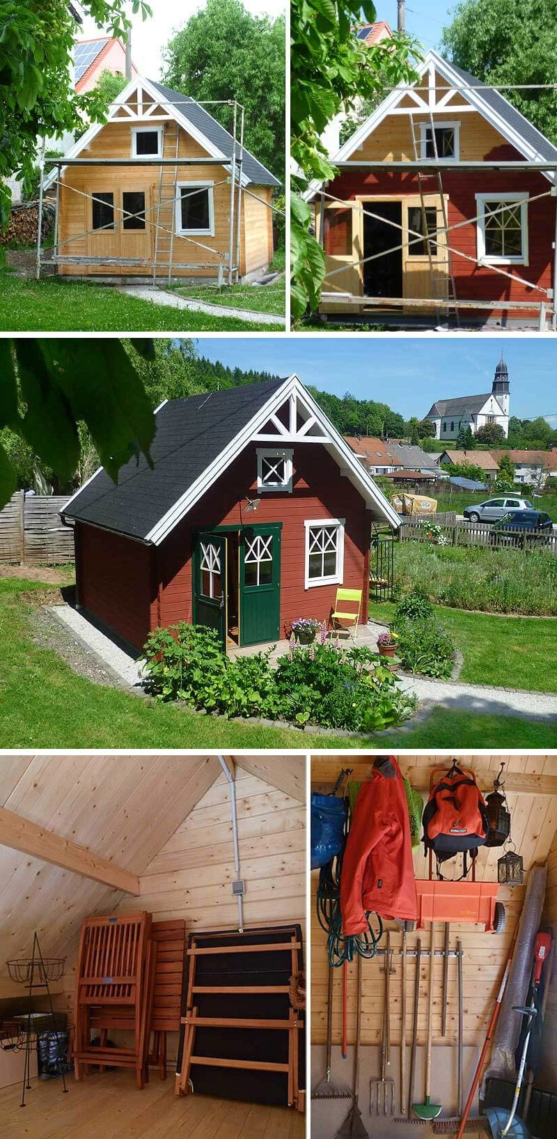 Ein Schwedenhaus als Gerätehaus und Pflanzen