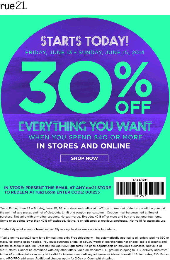 photo relating to Rue 21 Coupons Printable named Pinned June 13th: 30% off at rue21, or on line as a result of promo code