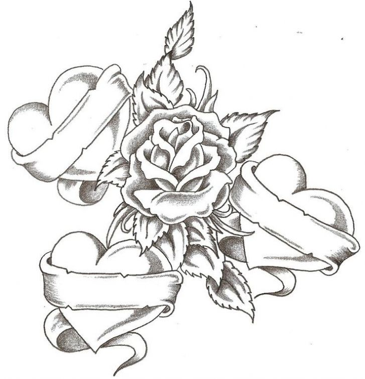 Realistic Sketch Of Rose And Hearts Printable Coloring Page For Adults Letscolorit Com Tattoos With Kids Names Heart Coloring Pages Pattern Tattoo