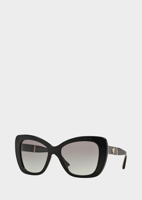 99aa3f25742 Versace Black Leather Medusa Sunglasses for Women
