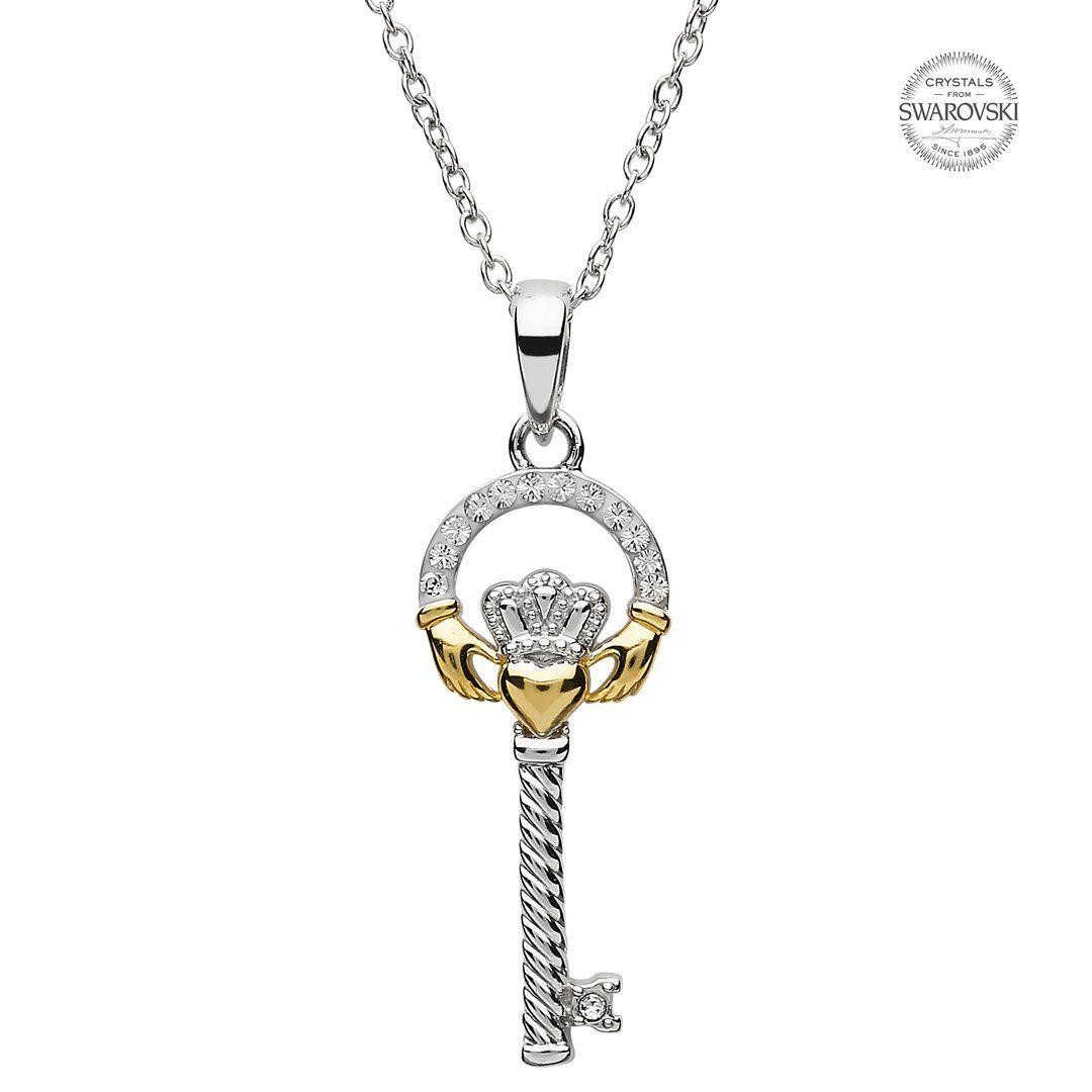 Silver Claddagh Key Pendant Encrusted With Swarovski