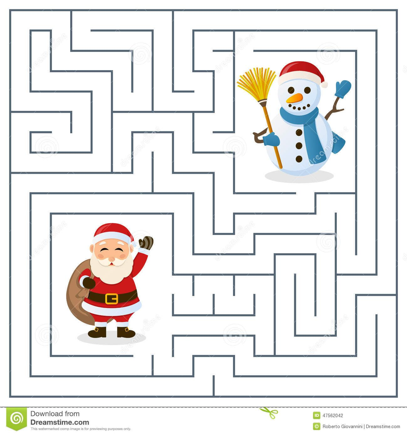 Santa Claus Amp Snowman Maze For Kids