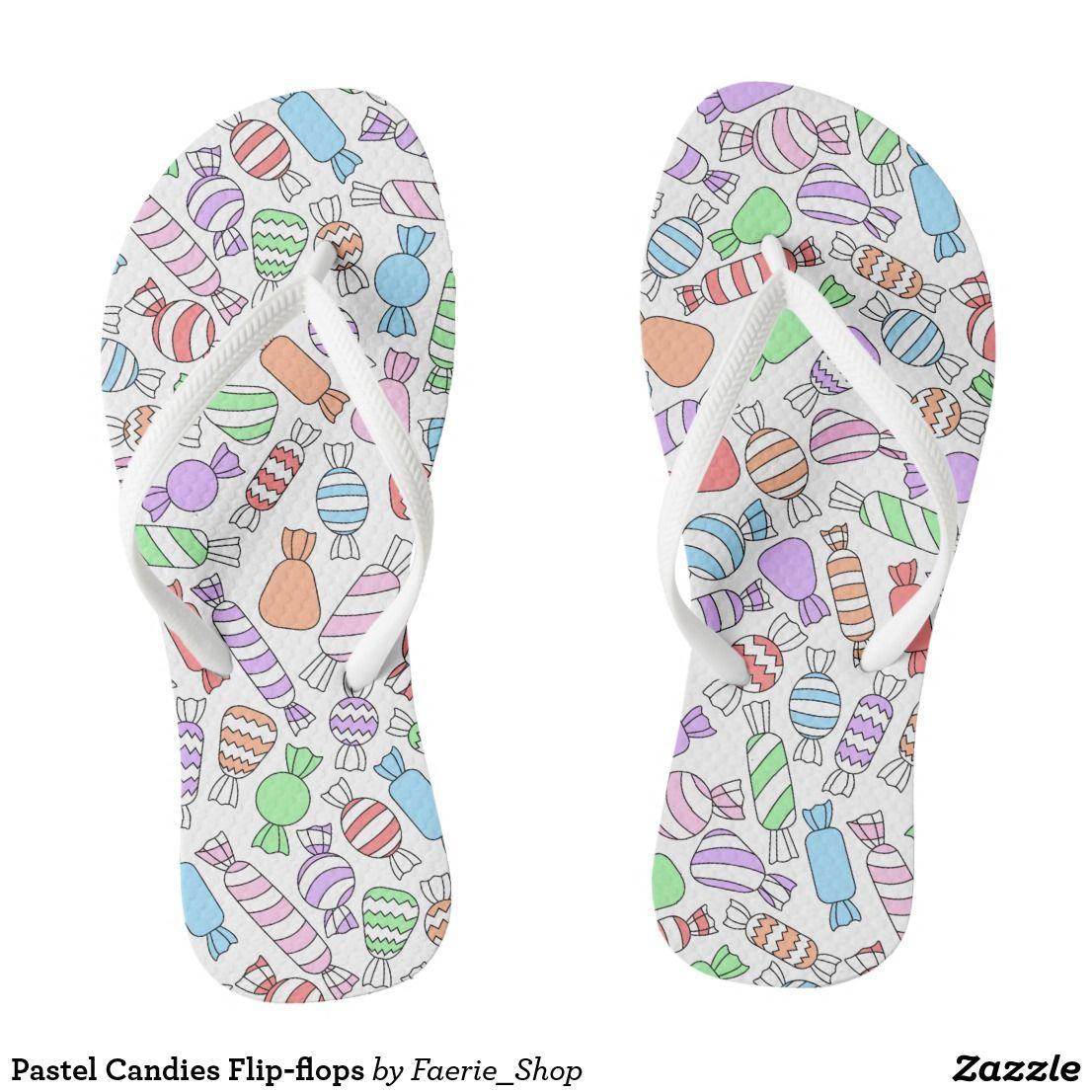 e0be714a16a9a8 Pastel Candies Flip-flops Flip Flops  faerieshop  watercolor  watercolour   candy  sweets  treats  pattern  beautiful  painting  decor  zazzle  present   gift ...