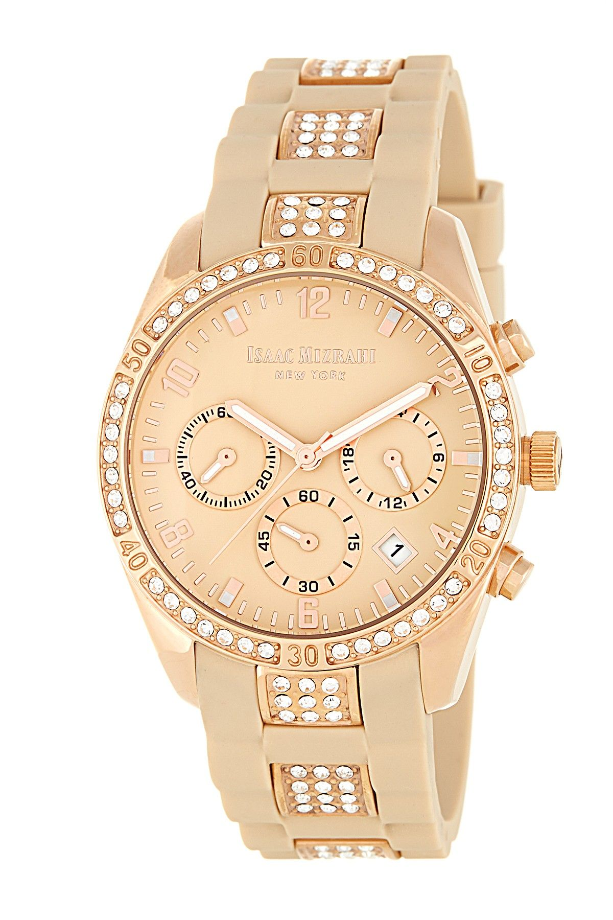Isaac Mizrahi Pave Silicone Strap Watch Nordstrom Rack