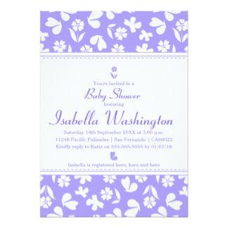 Lovely Lavender Butterfly & Flower Baby Shower Card