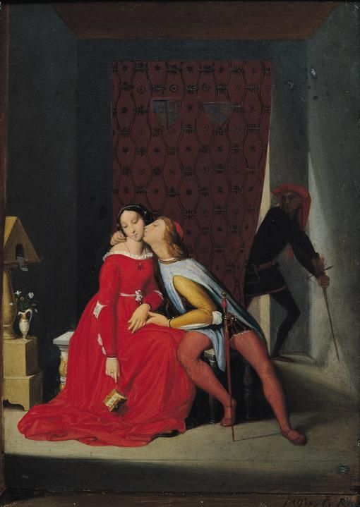 Gianciotto Discovers Paolo and Francesca/ 프란체스카가 정략결혼으로조반니와 결혼함. 조반니의 동생 파올로와 사랑에 빠짐. 하지만 걸림. 둘이 조반니에 의해 목이 베여짐. 옆에 백합: 프란체스카의 순결 암시. 앵그르의 작품(낭만주의 시대)