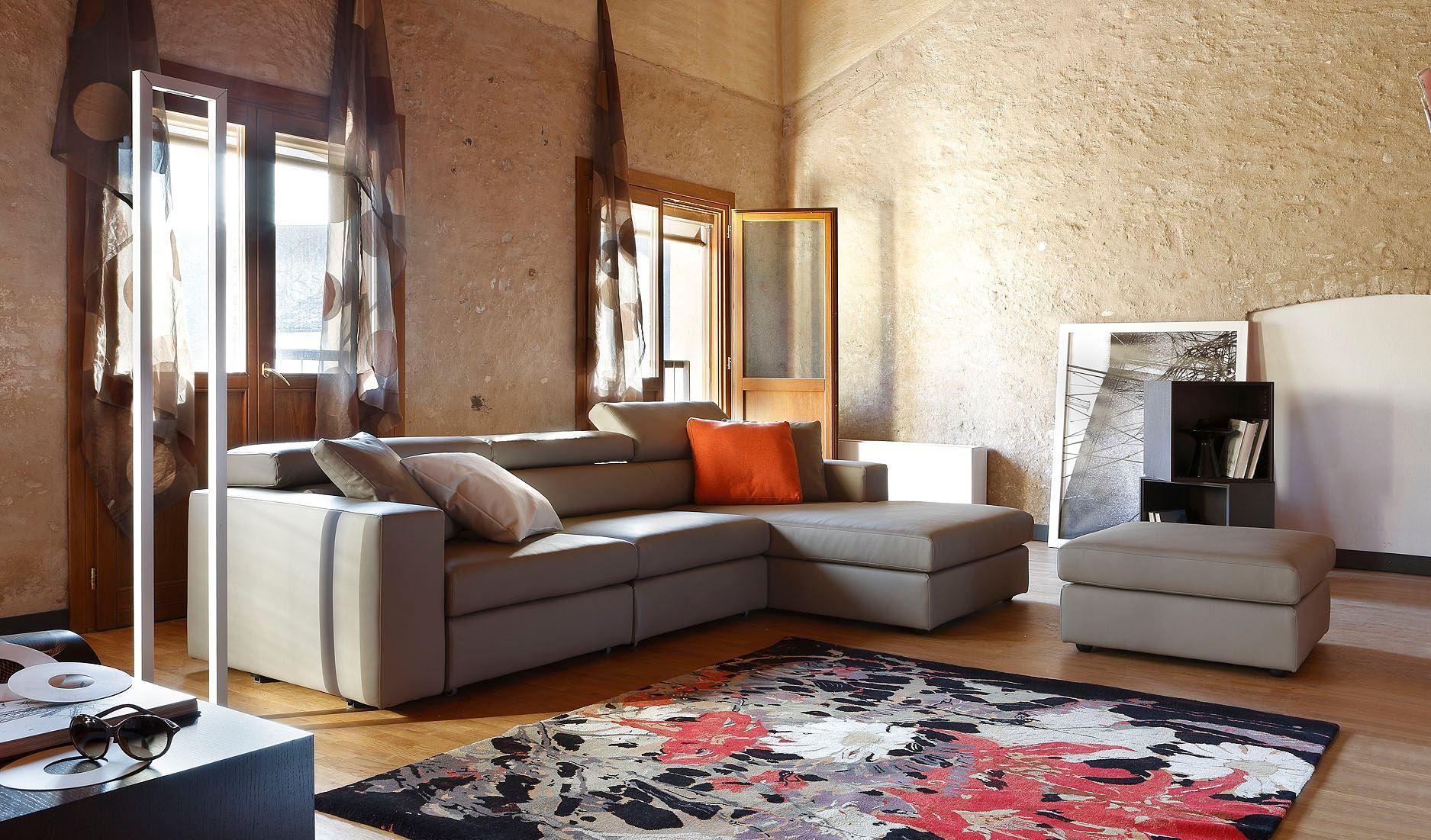 Divano 3 posti moderno con poggiatesta reclinabile in vera pelle tinta rossa ArredissimA Salotti e Divani Pinterest