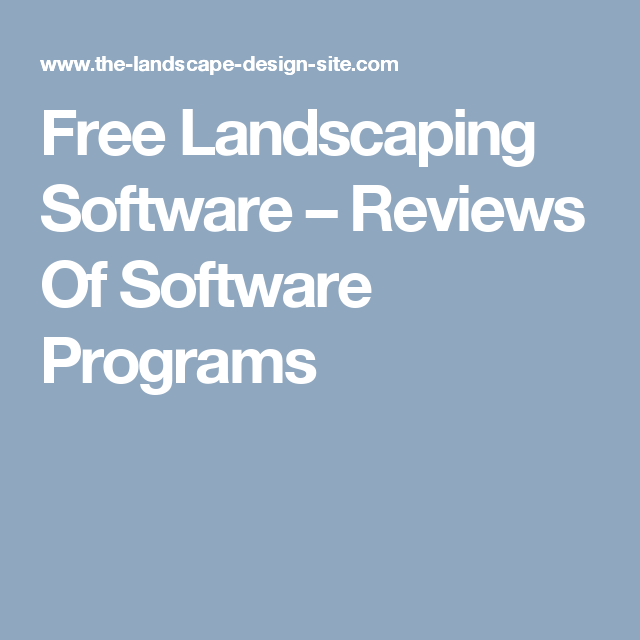 Free Landscaping Software – Reviews Of Software Programs