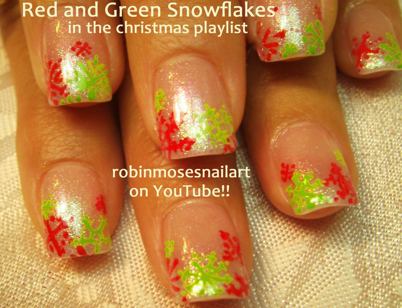 Nail-art by Robin Moses: Easy snowflake nail art, Red and Green snowflakes, Penguin nail art, Christmas penguin, Cute penguin nails, Fun Christmas nails, Christmas Nail Art, How to paint Penguins, How to paint snowflakes,