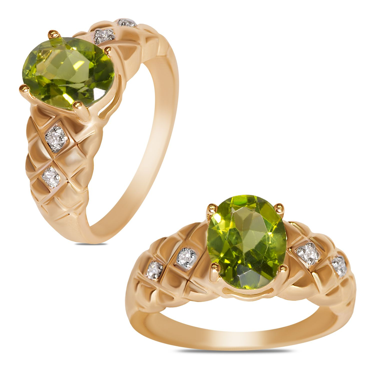 Ebay NissoniJewelry presents 04CT Diamond w Peridot Ring 10k Y