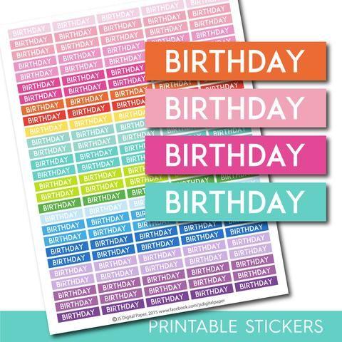 Birthday header stickers