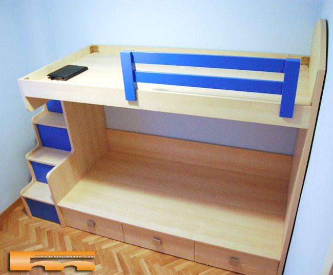 Litera con escalera lateral ni os barcelona anna litera a medida con escalera lateral con - Estructura cama cajones ...