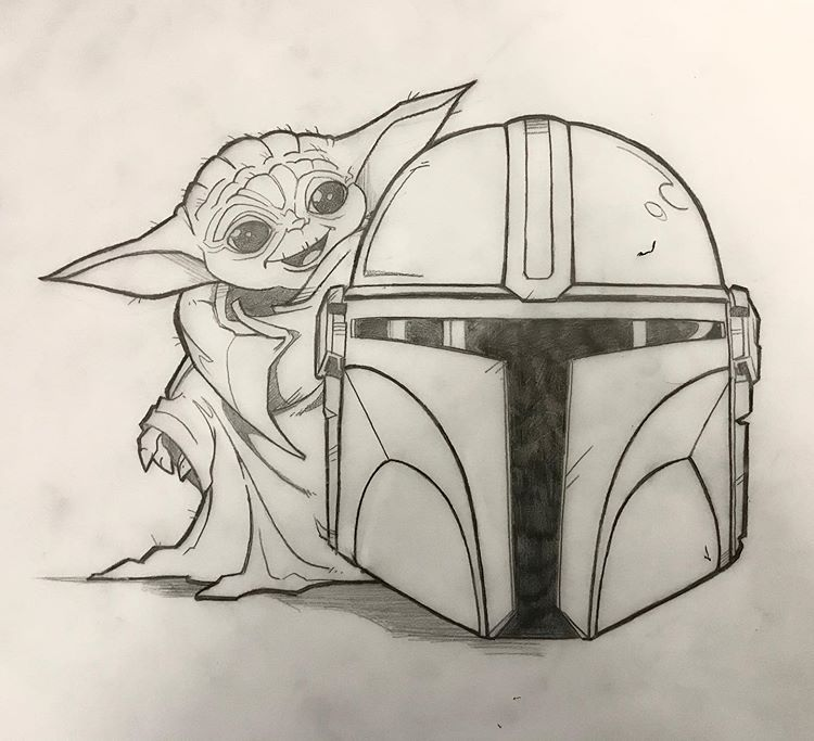 Peter Smith Na Instagramie Baby Yoda With Mando S Helmet Demo Sketch I Did In My Animation Class Tonight Comicbookart Art Comic Books Art Animation Classes