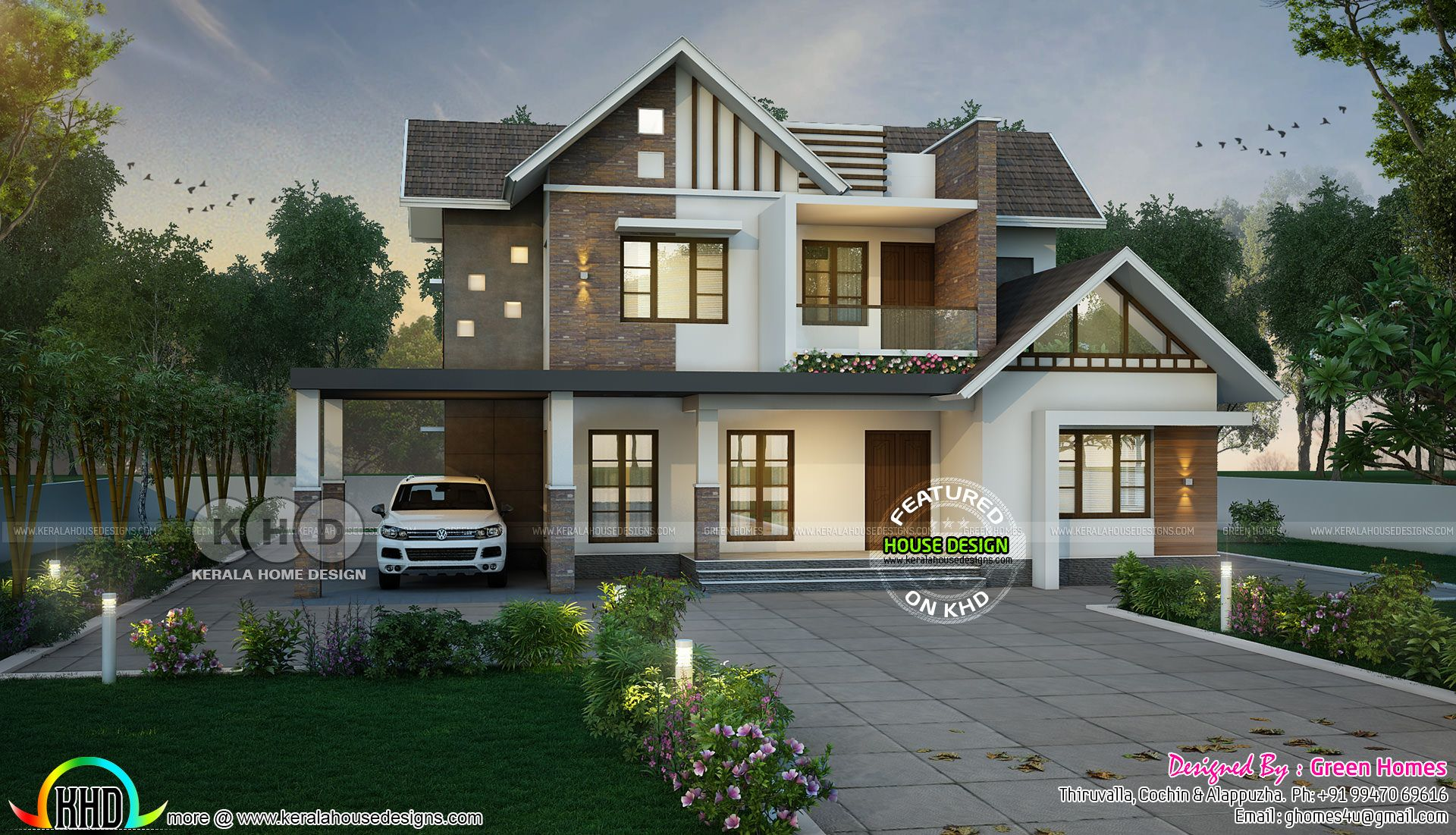 Sloping Roof Mix 4 Bedroom 3000 Sq Ft Home Kerala House Design House Design House Architecture Design