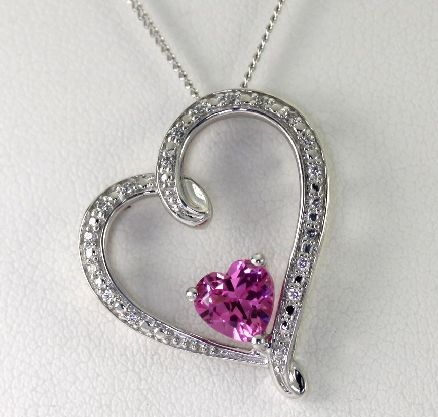Michael hill jewelers sterling silver created pink sapphire cz heart michael hill jewelers sterling silver created pink sapphire cz heart necklace mozeypictures Gallery