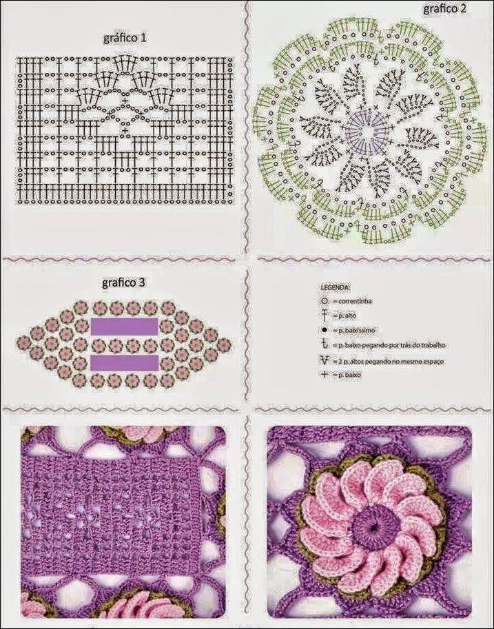 Camino de mesa con flores / patrones crochet | Crochet y Dos agujas ...