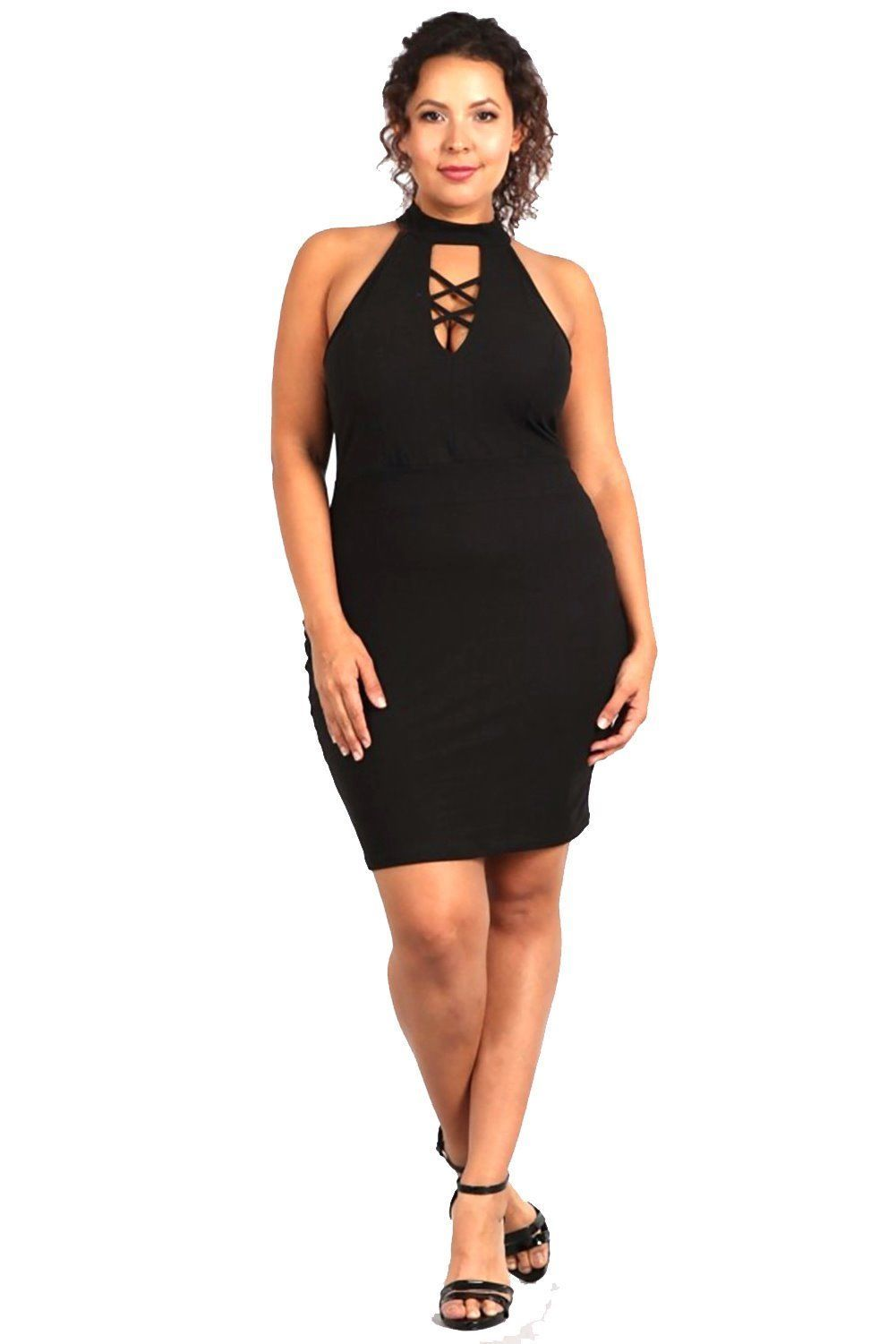 14791D - Plus Size, Solid, Sleeveless Crisscross At Front, Body-Con Mini Dress
