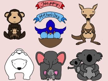 Mother S Day Animal Clip Art Collection Free Mother And Baby Animals Clip Art Free Clip Art
