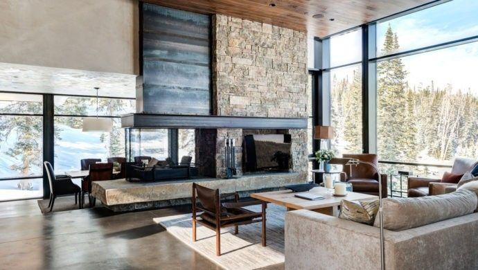rustikale einrichtung mit steinwand wohnzimmer | Kamine | Pinterest