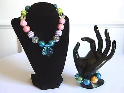 Girls Boutique Necklace & Bracelet Set Costume Chunky Jewelry Bright Jewel Tones