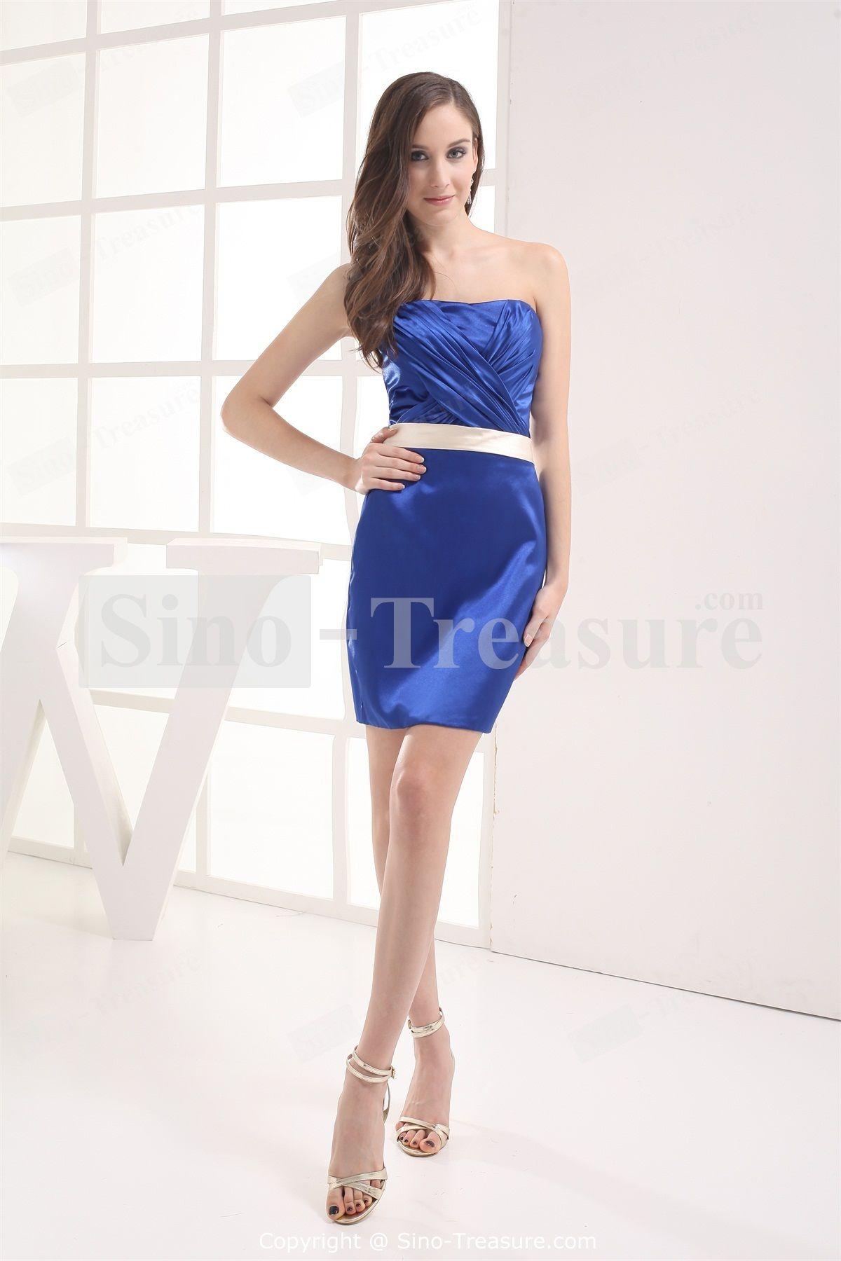 Summer short mini silklike satin strapless sexy cocktail dress