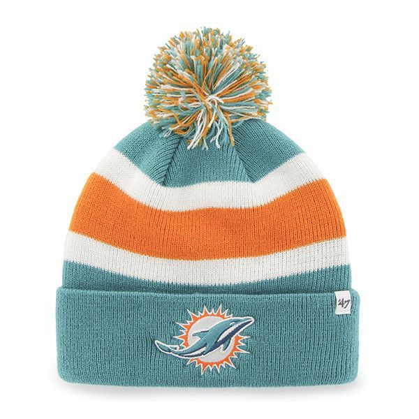Download Miami Dolphins 47 Brand Tri Tone Breakaway Knit Cuffed Beanie Poofball Hat Cap Fitted Hats Nfl Miami Dolphins 47 Brand