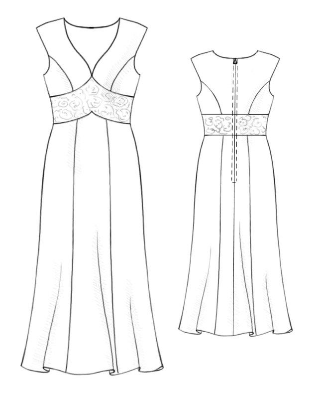 Dress With Lace Inset - Sewing Pattern #5211. Made-to-measure sewing ...