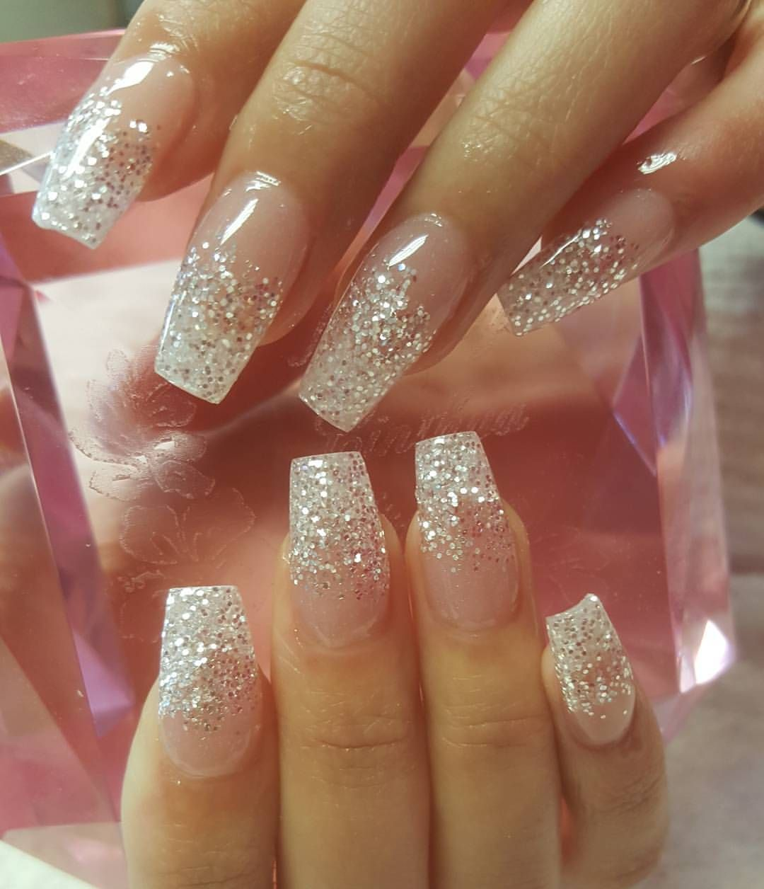 Nails By Cinthya On Instagram Nailsbycinthya Nails Nailprodigy Sculptednails Notpolish Simplenails Glitter Fade Nails Sparkly Acrylic Nails Faded Nails