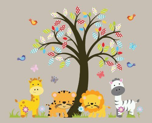 Robot Check Jungle Wall Decals Animal Wall Decals Tree Wall Decal