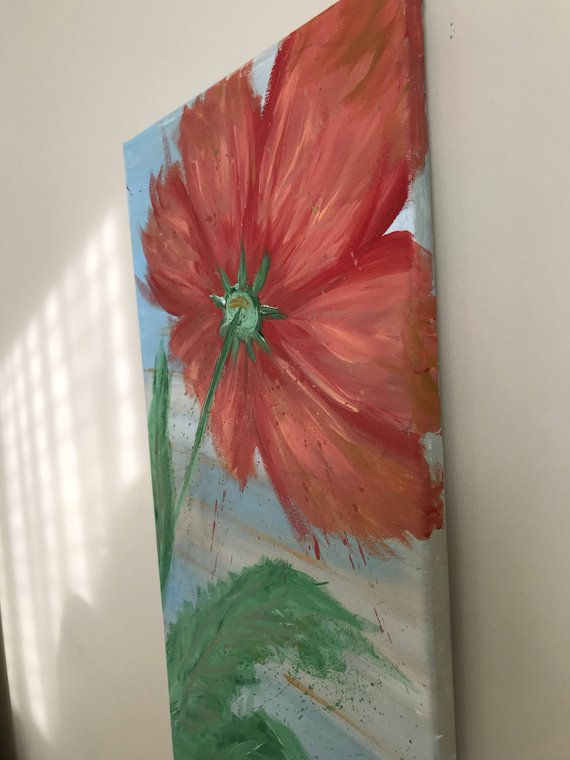 mother s day gift abstract red and peach large flower painting rh pinterest com