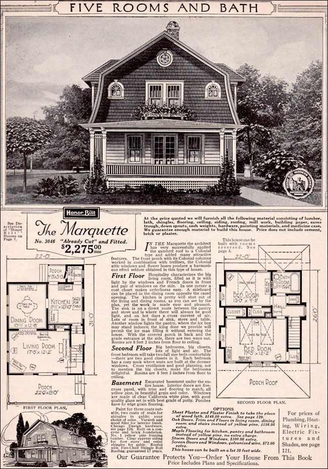 The Marquette 1923 Sears Roebuck Modern Homes I Bet You Didn T Know That At One Time You Could Order A Ho Dutch Colonial Homes Vintage House Plans Kit Homes