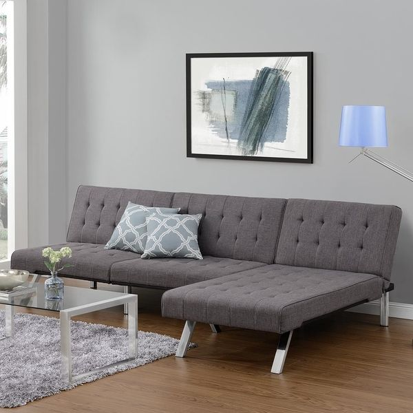 DHP Emily Tufted Grey Linen Convertible Futon by Avenue Greene