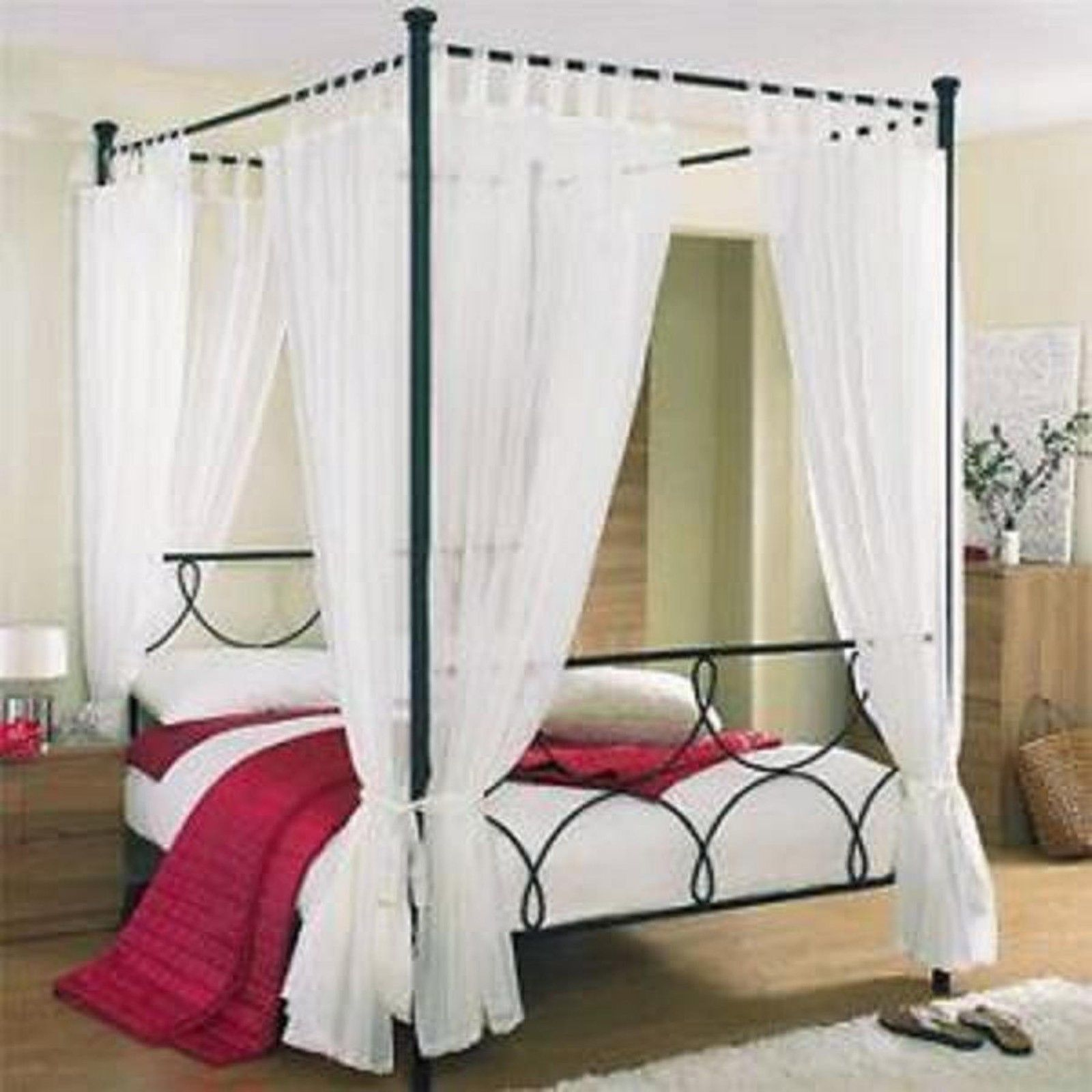 Tab Top Voile Four Poster Set Bed Drapes Four Poster Canopy Bed Drapes