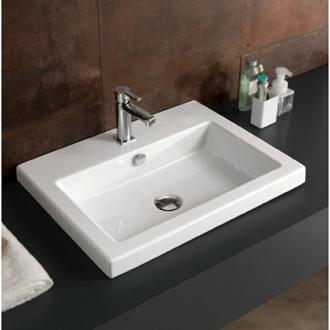 Rectangular White Ceramic Drop In Or Wall Mounted Sink Ceramic