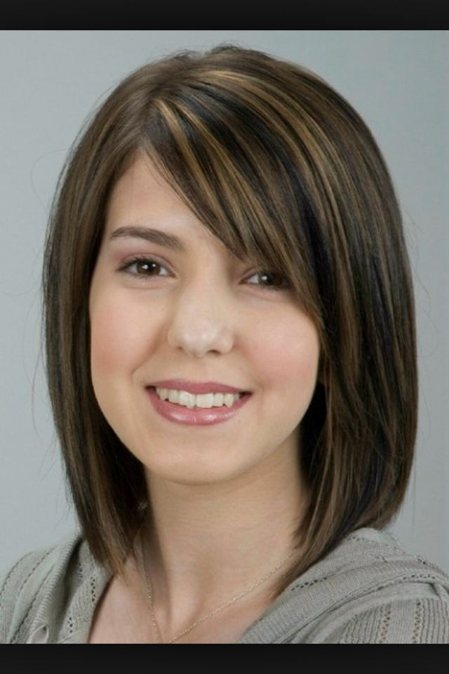 straight shoulderlength brown hair with sideswept bangs
