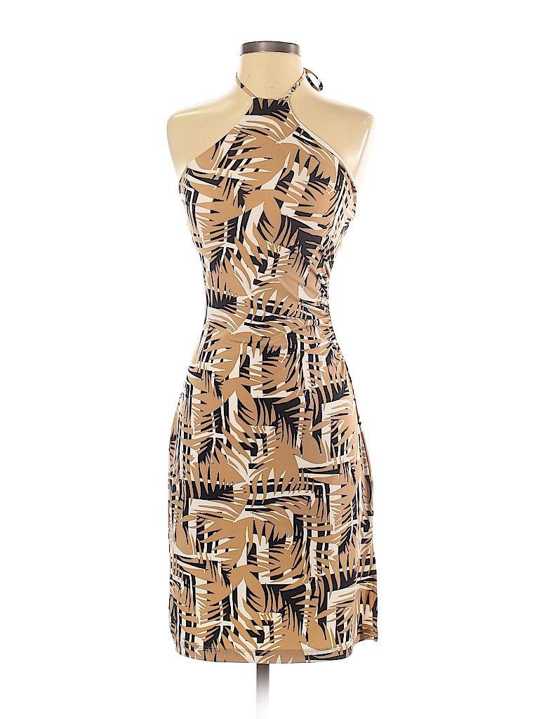 Bcbgmaxazria Cocktail Dress Party Tan Tropical Dresses Used Size X Small Casual Dress Dresses Tan Dresses [ 1024 x 768 Pixel ]