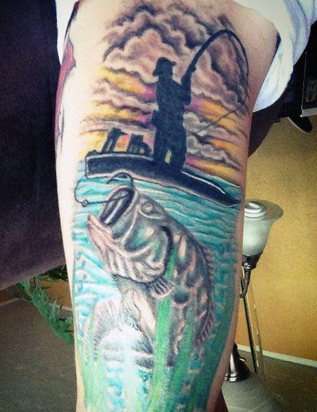 Men 39 s fish hook tattoos matts tattoo pinterest fish for Bass fish tattoo