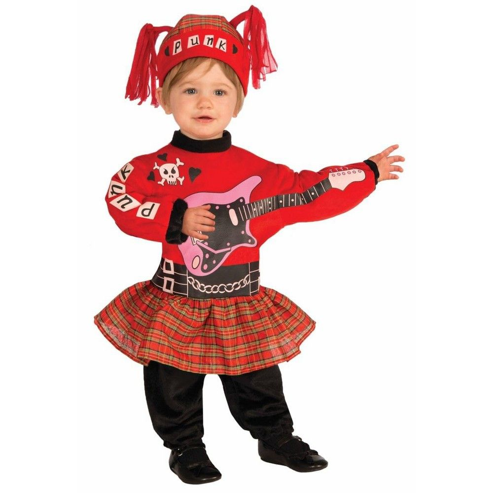 Halloween Forum Novelties Punk Rock Baby Girl Infant Costume One Size, Women's, Red